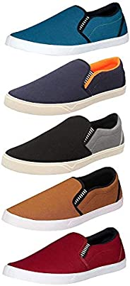 Chevit Men's Blue, Grey, Tan and Maroon Casual Loafers and Sneakers Shoes -Combo Pack