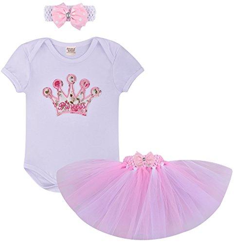 ZOEREA 3pcs neonate tuta + skirt + headband vestito vestito dal tutu maniche corte che coprono l'insieme del battesimo cerimonia nuziale del bambino (0-18M)