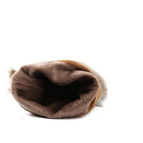 TAOFFEN Damen Winter Warme Flache Chelsea Stiefel Mode Lange Schneestiefel Schwarz