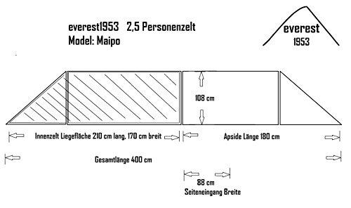 Tunnelzelt everest1953 NEU Zelt 2 1/2 Personen Maipo 2.5 Silikon grün Wassersäule 10000 mm - 2