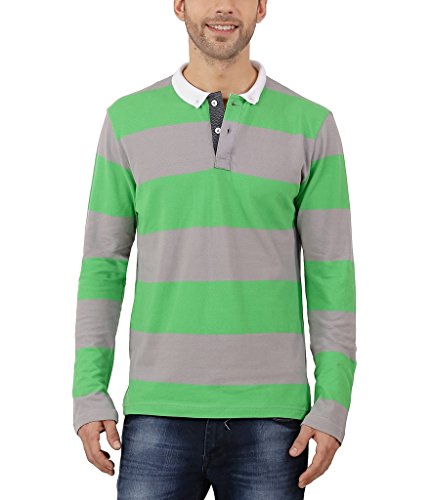 Nick&Jess Mens Green & Grey Striped Full Sleeve Polo T-Shirt  available at amazon for Rs.319