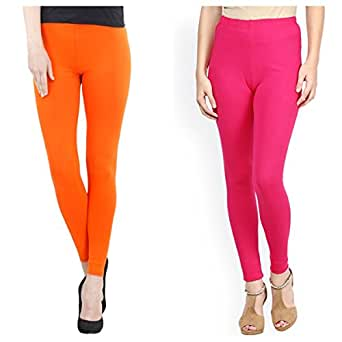 FashGlam Women's Cotton Ankle Length Leggings (Orange and Hot Pink, Free Size)
