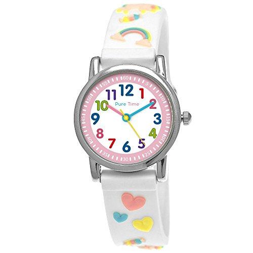 Pure Time® Einhorn Unicorn Kinder-Uhr Mädchen-Uhr Kinder Armband-Uhr Pferd Pony Tier Silikon Armband Mädchen Uhr Kinderuhr Bunt Weiß Rosa Türkis Gelb Rot Blau Sport-Uhr Lern-Uhr Schul-Uhr 3D