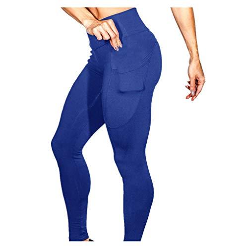 Dorical Damen Yogahose Hoher Bund Einfarbig Tasches Hosen Damen High Waist Fashion Leggings Workout Dünne Hosen lang Sport Fitness Workout Leggins für Frauen Günstig Online Sale(Blau,X-Large)