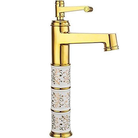 MCC European-style vergoldete Wasserhahn heißen und kalten Stufe Bassinhahn Kupfer antiken Waschbecken Badezimmerhahn erhöhte , gold-plated