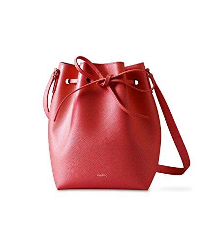 Melkco Memi Eimer Tasche im Kreuzmuster Echtes Leder - Rot (Handtasche Aus Leder Echtem Eimer)