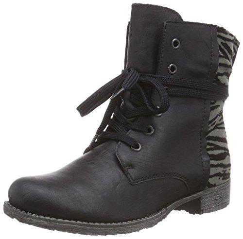 Rieker 70802, Damen Halbschaft Stiefel, Schwarz (schwarz/grau-schwarz/01), 36 EU (3.5 Damen UK)