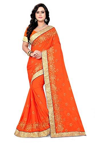 Riva designer women's New arrival embroidred work design orange color saree(Riva_230)