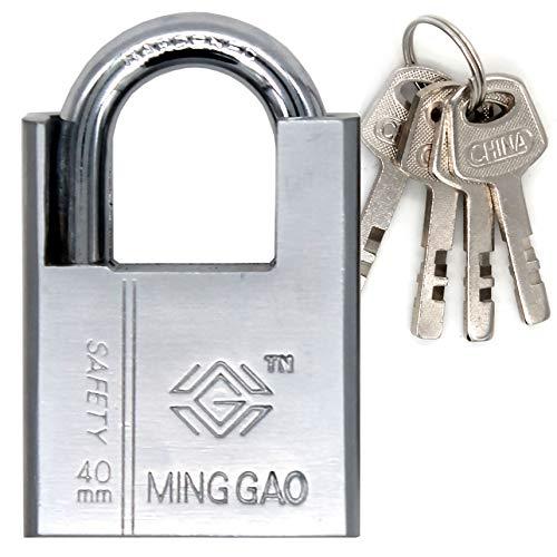 Candado de acero con llaves SEGURIDAD DE SERVICIO PESADO 100% impermeable - Cerradura segura Puertas...