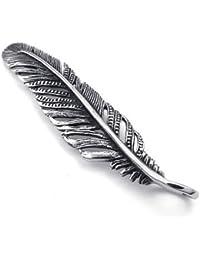 KONOV Joyería Collar con Colgante de hombre mujer, Cadena 45-65cm, Retro Vintage Pluma Feather, Acero inoxidable, Color plata (con bolsa de regalo)