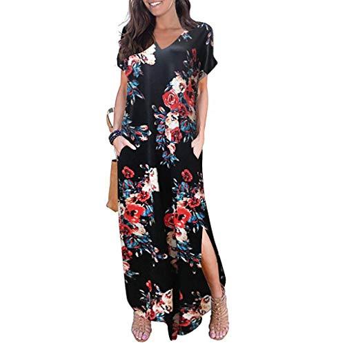 Muyise Sommer Damen Plus Size Kurzarm Kleid mit V-Ausschnitt Retro gedruckt Tasche Seitenschlitz lässig Elegante Temperament Göttin Abendkleider Sommerkleider(Schwarz2,XXXL) (Göttin Size Plus)