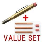 Viajero de la empresa latón lápiz (38069006) + lápiz Refill 3pcs y borrador 2pcs (38070006)–Percha Juego