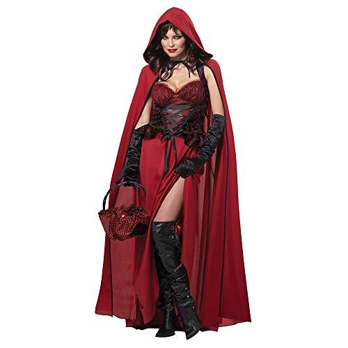 Mädchen Queen Red Kostüm - Belingeya-cl Damen Halloween Kostüm Lady Halloween Mantel Red Hood Kostüm Cosplay Queen Pack Cosplay Spiel Uniform Set