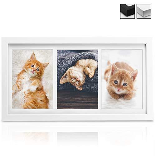 bomoe Bilderrahmen Galeria für 3 Fotos (3X 13x18 cm) Gr.: 52x25x2,5 cm - Fotorahmen aus Holz, Plexiglas, Metall-Aufhängung & Passepartout Multirahmen für Bilder Collagen - Weiß