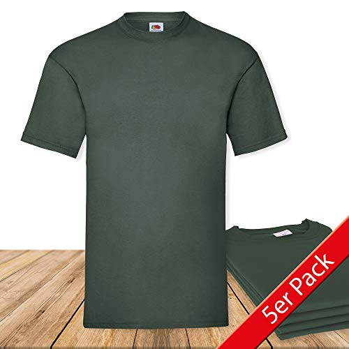 Fruit of the Loom Original Valueweight T Rundhals T-Shirt F140 5er Pack- Gr. L, Bottle Green