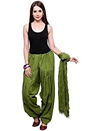 Fashion Store Women Solid Cotton Full Patiala Salwar With Dupatta (Free Size, Mehandi Green)
