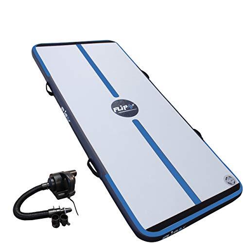 FlipZ Airtrack 2,4m mit elektrischer Pumpe für das Turnen zu Hause - Weichbodenmatte für Gymnastik und Tumbling. Blau (Haus Matten Tumbling Für)