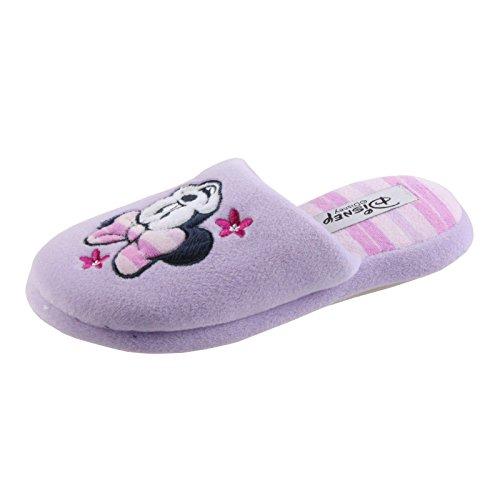Tierhausschuhe Hausschuhe Disney Minnie Maus Pantoffel Minny Maus weich Schlappen hochwertig Original Damen Mädchen, TH-Minnie Slipper lila