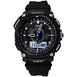 OHSEN YI-AD1209-1 LCD Date Day Stopwatch Dual Core Mens Sport Rubber Watch Black