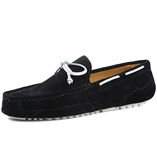 OZZEG hommes cuir Chaussures Slip on porc cuir supérieur mocassins chaussures Noir