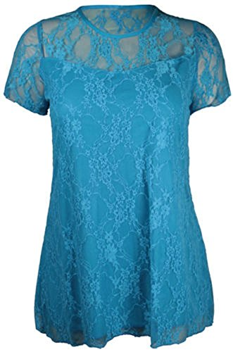 tze Kurzärmelig Damen-blume Gefüttert Muster Stretch T-Shirt Tunika Party Top Plus Größe - Türkis, EU 48 (Plus Größen Fancy Kleid)