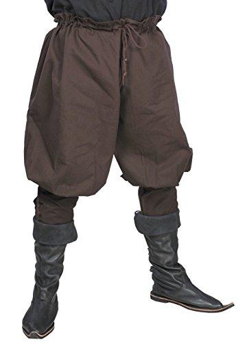 Mittelalterliche Wikingerhose Gauklerhose aus Baumwolle LARP verschiedene Farben XS/S M/L XL (XS/S, Braun) (Epic Halloween Kostüme Für Männer)