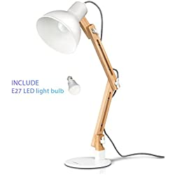 Lámpara de escritorio,columpio del brazo,lámpara de mesa ajustable y desmontable de madera para oficina, sala, estudio y dormitorio, blanco – Tomons