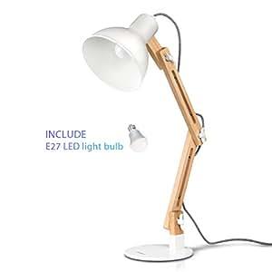 Tomons lampada da lettura design legno classico, lampada da tavolo, lampada regolabile scrivania, con braccio snodato, eye-friendly, la lampada da lavoro, lampada da ufficio, lampada da comodino Bianco