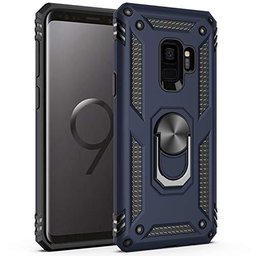 AFARER Galaxy S9 Hülle,Extremer Schutz Militärische Rüstung Hülle Handyhülle mit Ring 360 Grad Rotation Unzerbrechlicher Ständer Case für Samsung Galaxy S9 - Blau (Schutz Rüstung)