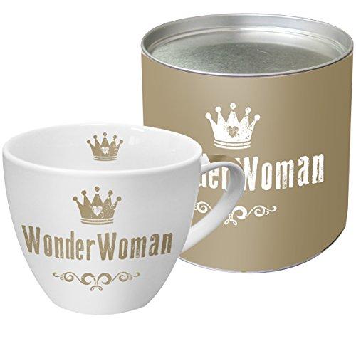 PPD WonderWoman Real Gold Porzellantasse, Kaffeetasse, Kaffee Becher, Kaffeebecher, New Bone China, Weiß / Echtgold, 450 ml, 603025 Gold Bone China
