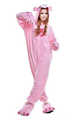 (URVIP Erwachsene Unisex Jumpsuit Tier Cartoon Fasching Halloween Pyjama Kostüm Onesie Fleece-Overall Schlafanzug Rosa Gloomy-Bear X-Large)