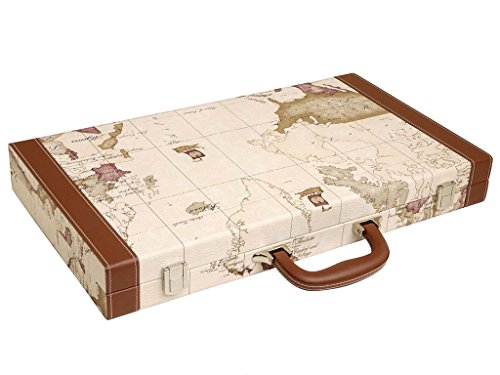 Luxus-Backgammon-Set auf Weltkarte, 18 Zoll – Weiß