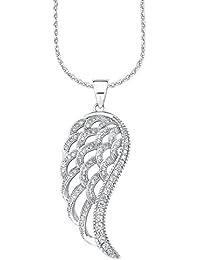 Amor Damen-Kette 70 cm mit Anhänger Flügel 925 Sterling Silber rhodiniert Zirkonia weiß