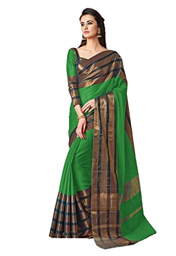 Ishin Blended Premium Cotton Green With Woven Zari Border Bollywood Women's Saree