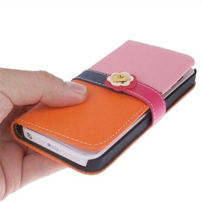 Wkae Case Cover Plum Blumen-Knopf-Schlag-Leder-Mappen-Kasten-Abdeckung mit Kreditkarte-Schlitz &Lanyard für iPhone 5 &5s &SE ( SKU : S-IP5G-3141F ) S-IP5G-3141E