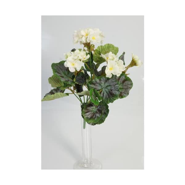 artplants.de Decorativa Mata de geranios Merle, Blanca, 30cm, Ø 20cm – Planta Artificial – Flor sintética