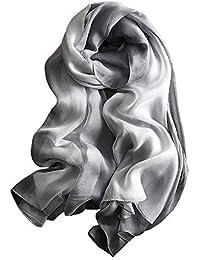 4b24c8b111ee W.Best Femme Foulard 100% Soie Grande Echarpe Châle Ultra-Léger Respirant  Elégant