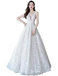 Vestido de novia Vestido de Noche Femenino con Escote en V sin Mangas Sencillo Blanco Ailin