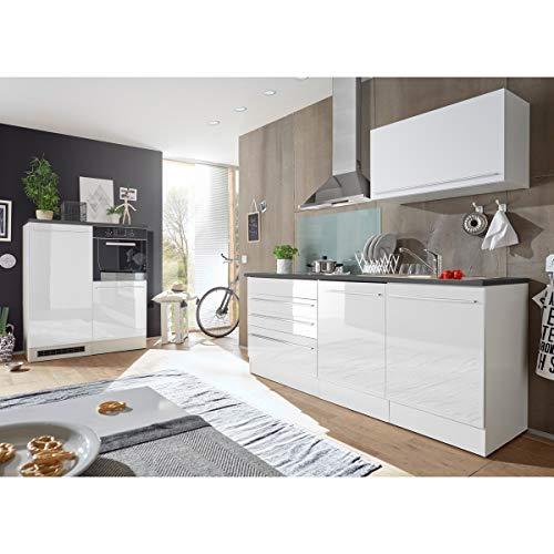 Möbel Akut Küchenblock Jazz 4 Einabuküche Küchenzeile weiß Hochglanz anthrazit 320 cm Küchenschränke ohne Geräte