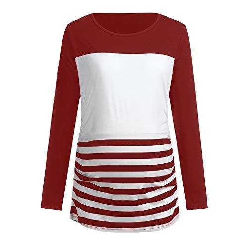 bobo4818 Frauen Mutterschaft Tunika Tops schmeichelnde Seite Rüschen Langarm Scoop Neck Schwangerschaft Halloween Kostüm T-Shirt (L, Rot) - Halloween-kostüm-mutterschafts-t-shirt