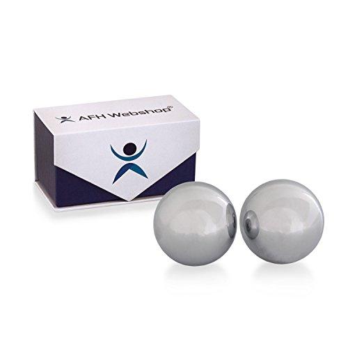 Meditation Qi-Gong-Kugeln mit Klangwerk | Klangkugeln | Yin Yang | Design Metall silber | verschiedene Durchmesser (Ø 40 mm)