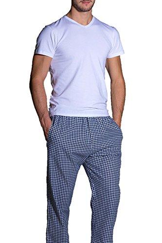 OLIMPIA pantalone homewear 100% cotone (52 L IT Uomo, tartan blu)