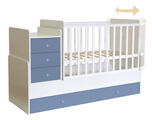 Polini Kids Kinderbett 0001227.17 Simple 1100, Schubladenelement, Farbe: Weiß-Blau