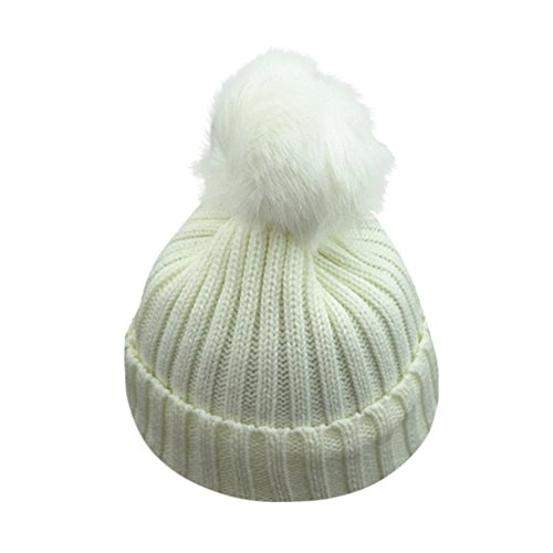 gorro de lana para bebe. DEELIN NiñOs NiñO PequeñO NiñOs Caliente Tejer  Beanie Hat Chicos NiñAs Piel Pom Bobble Crochet Cap 1921fd008db7