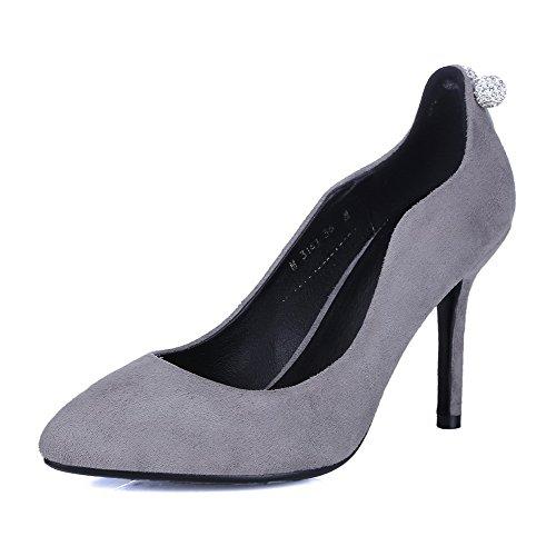 VogueZone009 Damen Rein Mattglasbirne Hoher Absatz Ziehen Auf Spitz Zehe Pumps Schuhe, Grau, 39