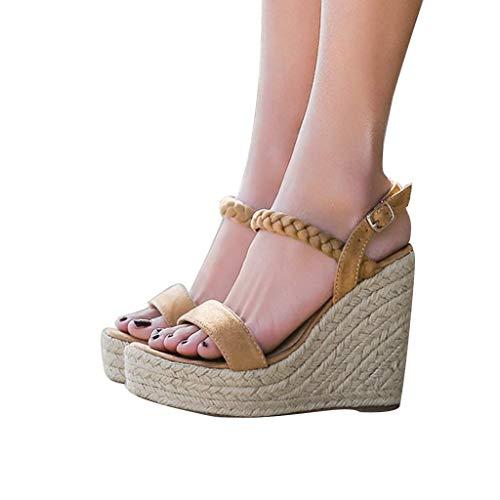 HILOTU Damen-Sandalen Mit Keilabsatz Modische Kortikale Spitzen Offenen Zehen Plattformen Sandalen Sommer Einfarbig Einzigartige Sling Back Metallschnalle Anti-Rutsch-Sandalen -