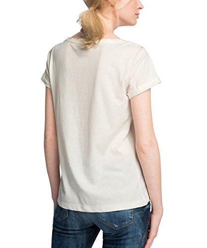 edc by Esprit 076cc1k025, T-Shirt Femme Blanc (OFF WHITE 110)