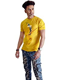 Sketch Lion Stylish Hand Printed T-Shirt- Round Neck Lord Krishna Peacock Feather Print T-Shirt For Men-Yellow