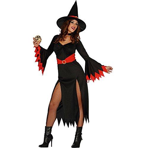 Langes Sexy Hexen Kleid Karneval Halloween Kostüm Damen Schwarz Rot Gr. M - L, ()