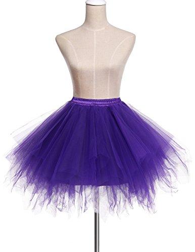 Bridesmay Tutu Damenrock Tüllrock 50er Kurz Ballet Tanzkleid Unterkleid Cosplay Crinoline Petticoat für Rockabilly Kleid Purple